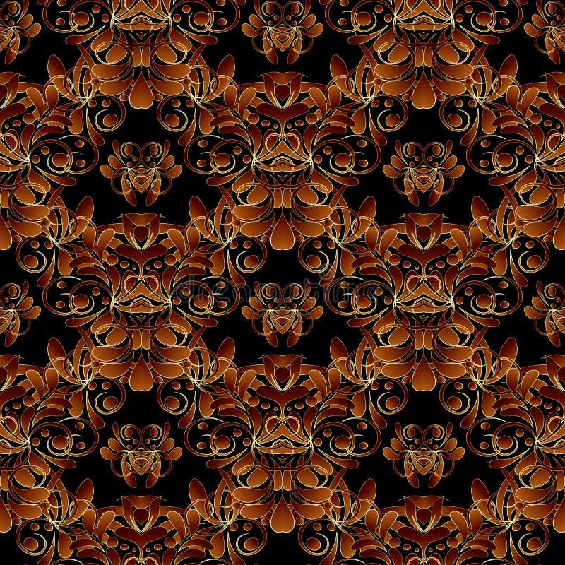 Εκλεκτής ποιότητας floral damask άνευ ραφής σχέδιο Μαύρη flowery διανυσματική ΤΣΕ διανυσματική απεικόνιση
