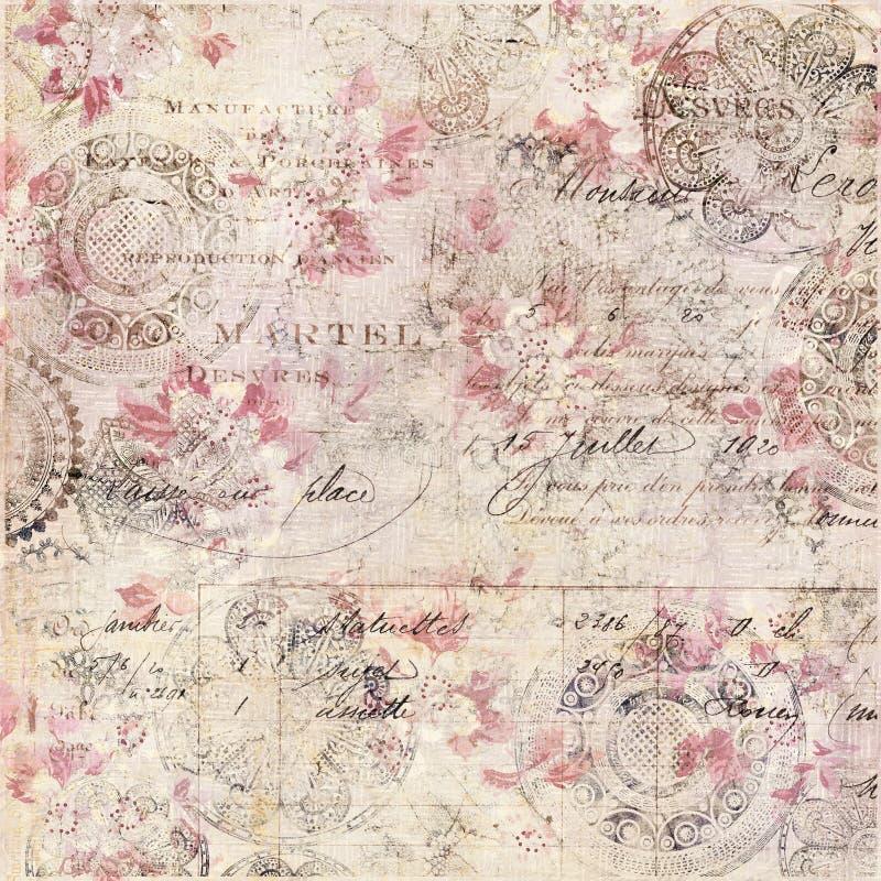 Εκλεκτής ποιότητας Floral Shabby κομψό υπόβαθρο με το χειρόγραφο στοκ εικόνες
