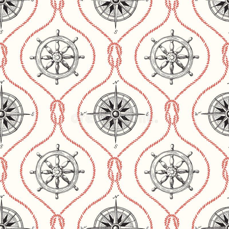 Εκλεκτής ποιότητας Hand-Drawn διανυσματικό άνευ ραφής σχέδιο Ogee σχοινιών με το τιμόνι, την πυξίδα και το ναυτικό κόμβο σκοπέλων απεικόνιση αποθεμάτων