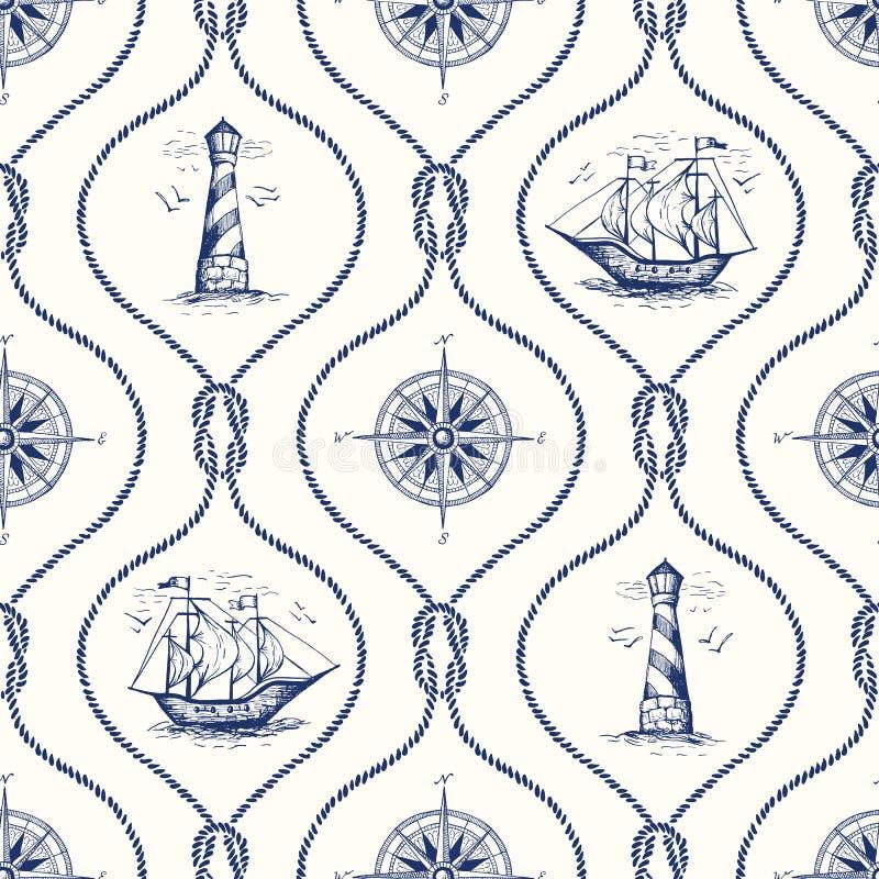 Εκλεκτής ποιότητας Hand-Drawn διανυσματικό άνευ ραφής σχέδιο Ogee σχοινιών με το φάρο, την πυξίδα θάλασσας, το σκάφος και το ναυτ διανυσματική απεικόνιση