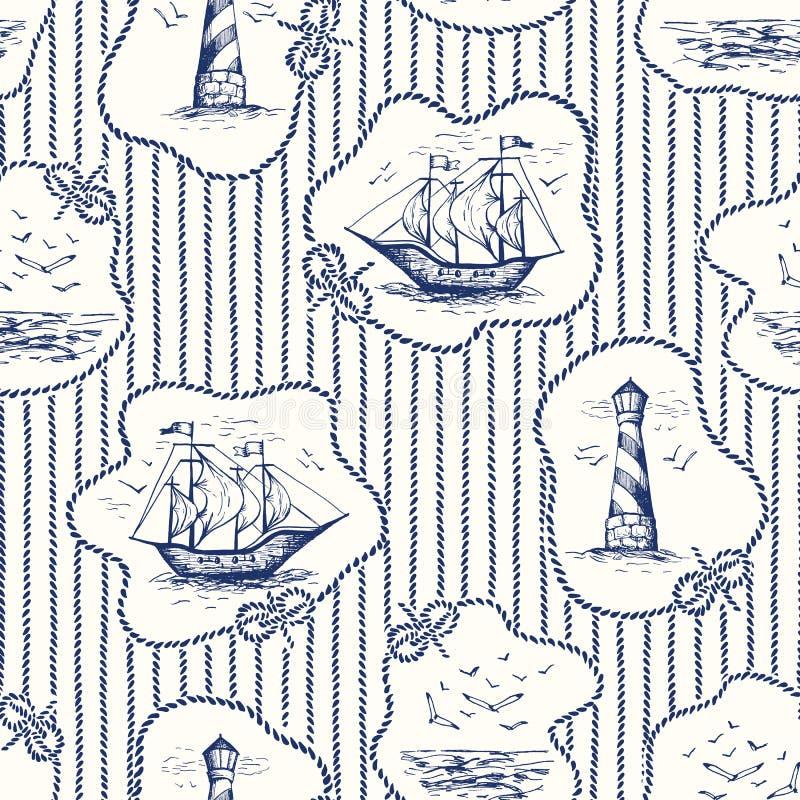 Εκλεκτής ποιότητας Hand-Drawn πλαίσια σχοινιών, Stripes Toile de Jouy Vector άνευ ραφής σχέδιο με το φάρο, Seagulls τοπίο, σκάφη διανυσματική απεικόνιση