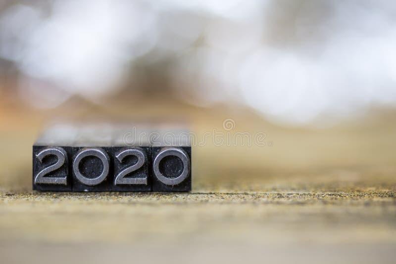 2020 εκλεκτής ποιότητας Letterpress Word μετάλλων έννοιας στοκ εικόνες