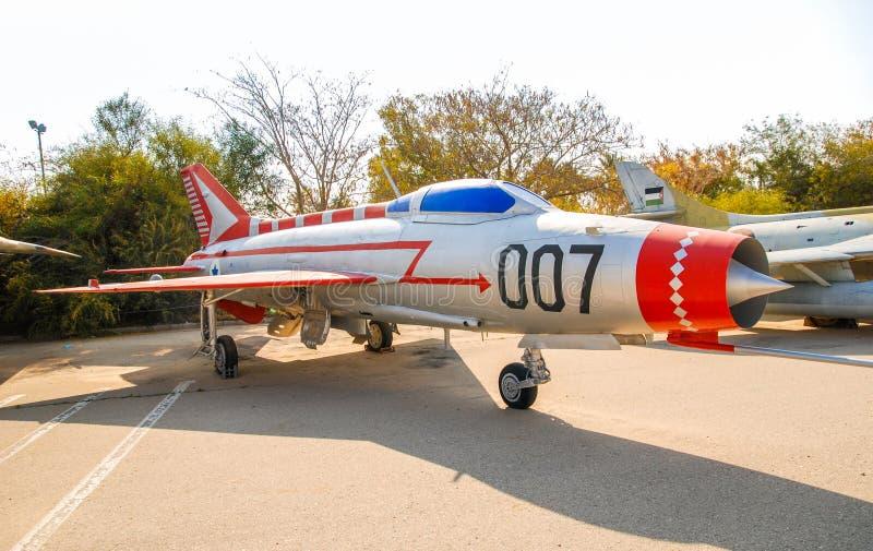Εκλεκτής ποιότητας mikoyan-Gurevich miG-21 αεροσκάφη που επιδεικνύονται στο ισραηλινό μουσείο Πολεμικής Αεροπορίας στοκ φωτογραφία με δικαίωμα ελεύθερης χρήσης