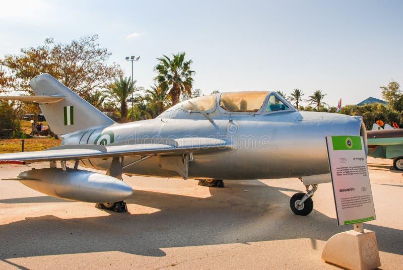 Εκλεκτής ποιότητας Mikoyan miG-15 αεροσκάφη UTI που επιδεικνύονται στο ισραηλινό μουσείο Πολεμικής Αεροπορίας στοκ φωτογραφία με δικαίωμα ελεύθερης χρήσης