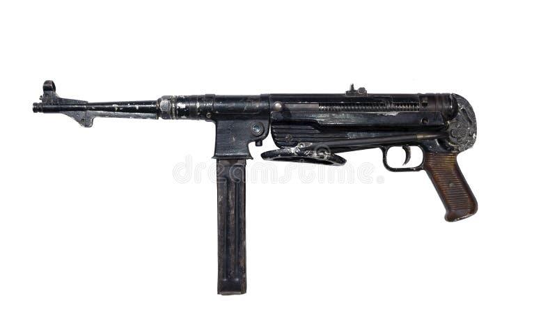 Εκλεκτής ποιότητας shabby submachine πυροβόλο όπλο στο άσπρο υπόβαθρο στοκ φωτογραφία