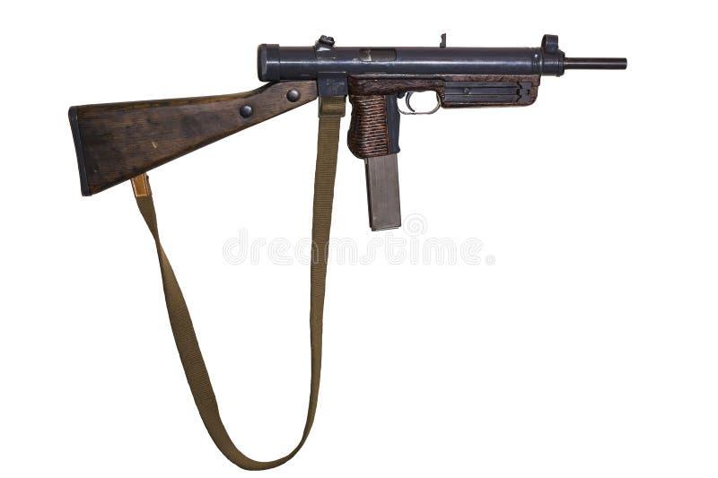 Εκλεκτής ποιότητας submachine πυροβόλο όπλο με τη ζώνη καμβά στο άσπρο υπόβαθρο στοκ εικόνες