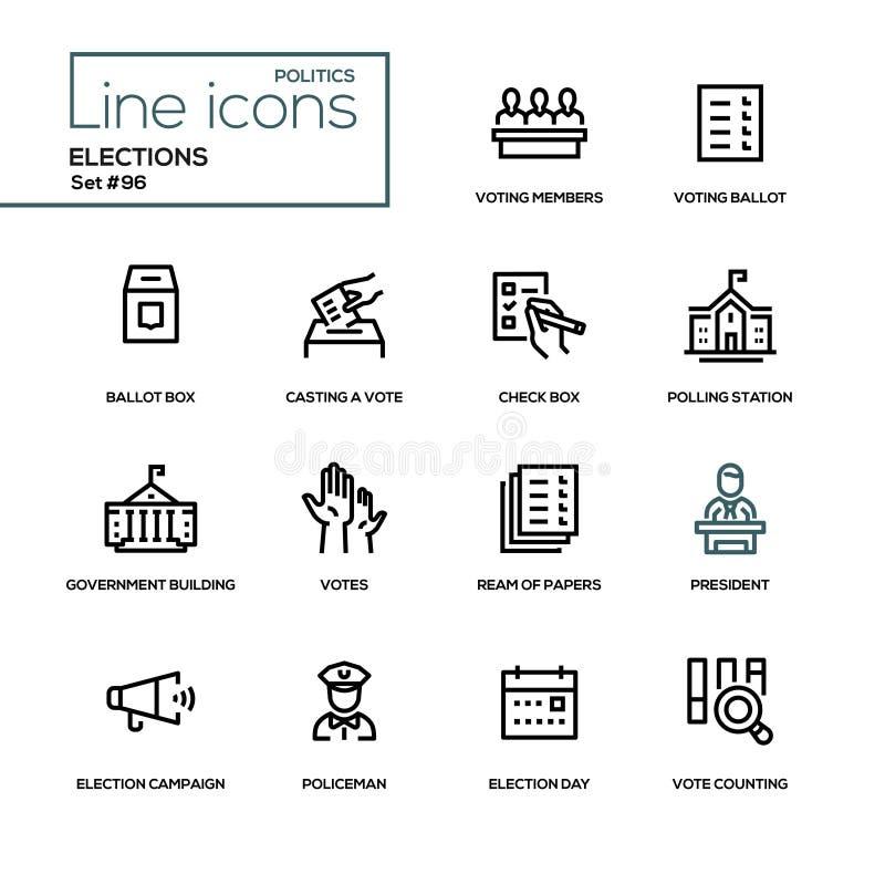 Εκλογές - σύγχρονα εικονίδια σχεδίου γραμμών καθορισμένα διανυσματική απεικόνιση