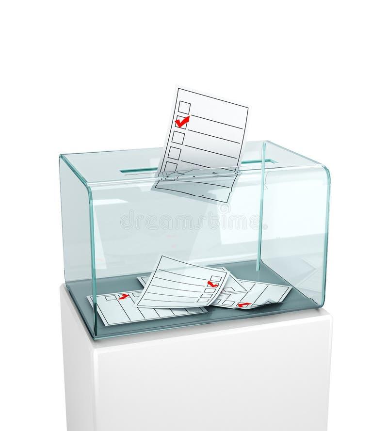 Εκλογές, ψηφοφορία Τοποθέτηση του ενημερωτικού δελτίου σε ένα κιβώτιο γυαλιού απεικόνιση αποθεμάτων