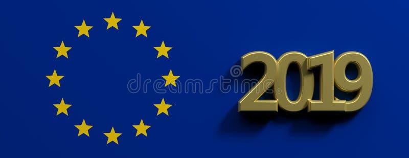 Εκλογή της Ευρωπαϊκής Ένωσης Χρυσός αριθμός του 2019 και ένας χρυσός κύκλος αστεριών στο μπλε υπόβαθρο τρισδιάστατη απεικόνιση απεικόνιση αποθεμάτων