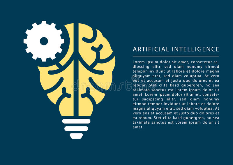 Εκμάθηση μηχανών και έννοια τεχνητής νοημοσύνης με το εικονίδιο εγκεφάλου και λαμπών φωτός ελεύθερη απεικόνιση δικαιώματος