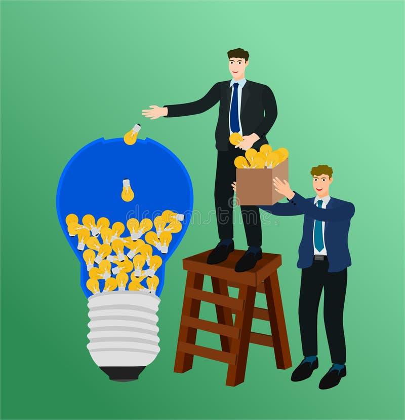 Εκμετάλλευση επιχειρηματιών και τοποθέτηση της ιδέας στη μεγάλη λάμπα φωτός διανυσματική απεικόνιση