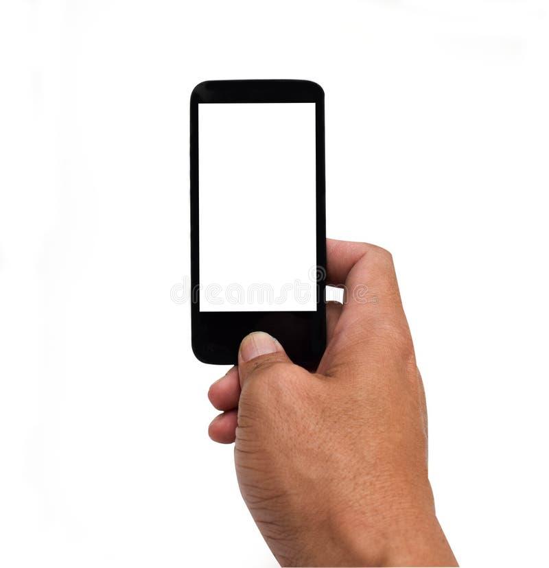 Εκμετάλλευση χεριών ατόμων και ώθηση κατ' οίκον του κουμπιού στο έξυπνο κινητό τηλέφωνο με την άσπρη κενή οθόνη που απομονώνεται  στοκ εικόνες