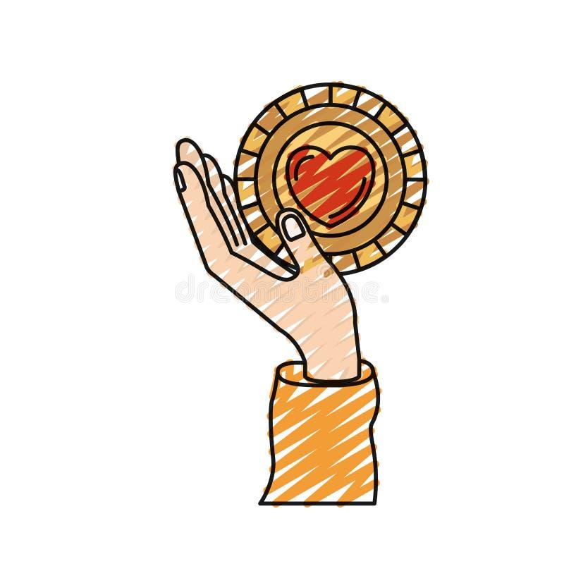 Εκμετάλλευση χεριών σκιαγραφιών κραγιονιών χρώματος στην παλάμη ένα νόμισμα με τη μορφή καρδιών μέσα στο σύμβολο φιλανθρωπίας ελεύθερη απεικόνιση δικαιώματος