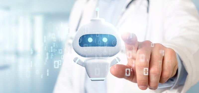 Εκμετάλλευση Chatbot γιατρών με την τρισδιάστατη απόδοση δυαδικού κώδικα στοκ εικόνες με δικαίωμα ελεύθερης χρήσης