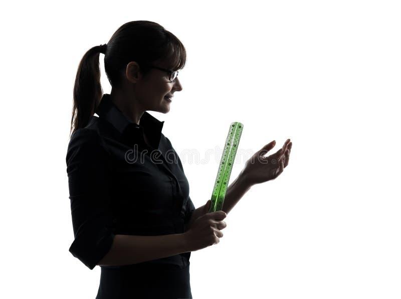 Εκμετάλλευση δασκάλων επιχειρησιακών γυναικών   σκιαγραφία κυβερνητών στοκ φωτογραφίες με δικαίωμα ελεύθερης χρήσης