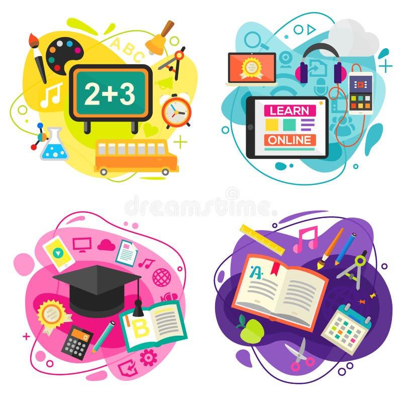 Εκπαίδευση και σε απευθείας σύνδεση εμβλήματα έννοιας εκμάθησης επίσης corel σύρετε το διάνυσμα απεικόνισης ελεύθερη απεικόνιση δικαιώματος