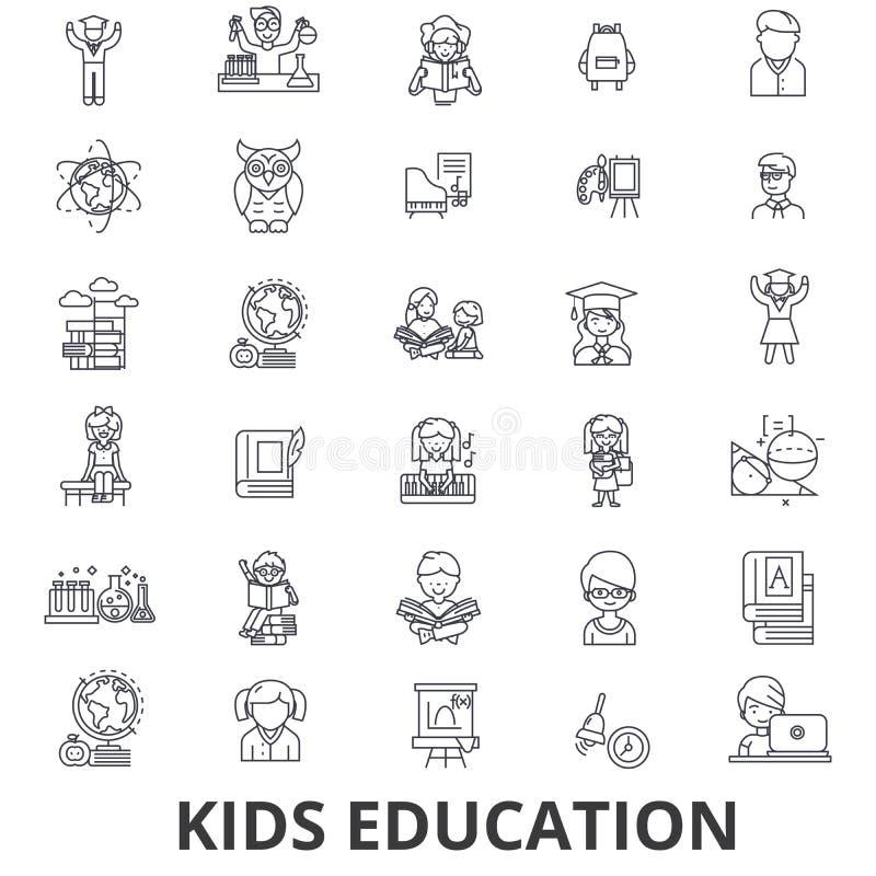Εκπαίδευση παιδιών, εκμάθηση, υπόβαθρο εκπαίδευσης, σχολείο, εικονίδια γραμμών τεχνολογίας εκπαίδευσης Κτυπήματα Editable Επίπεδο ελεύθερη απεικόνιση δικαιώματος