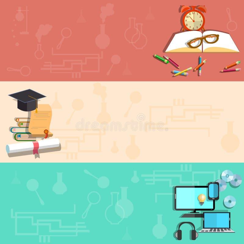 Εκπαίδευση, μαθαίνοντας on-line, σχολικά θέματα, διανυσματικά εμβλήματα απεικόνιση αποθεμάτων