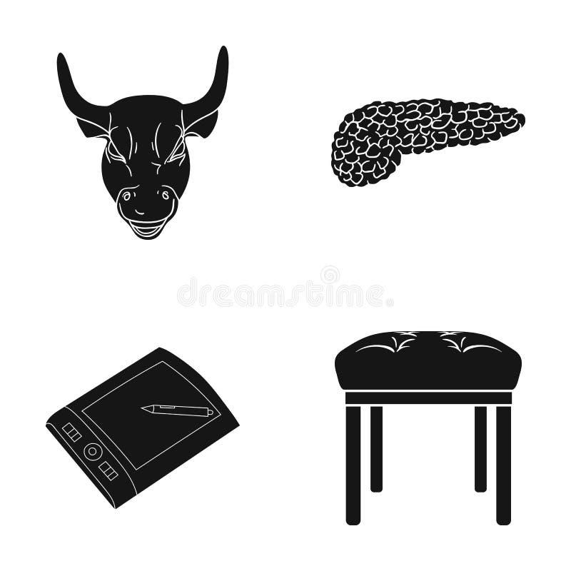 Εκπαίδευση, μουσείο, ιατρική και άλλο εικονίδιο Ιστού στο μαύρο ύφος μαλακός, πόδι, έπιπλα, εικονίδια στην καθορισμένη συλλογή απεικόνιση αποθεμάτων