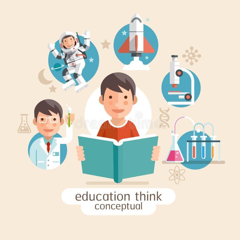 Εκπαίδευση που σκέφτεται εννοιολογική κράτημα παιδιών βιβλίων διανυσματική απεικόνιση