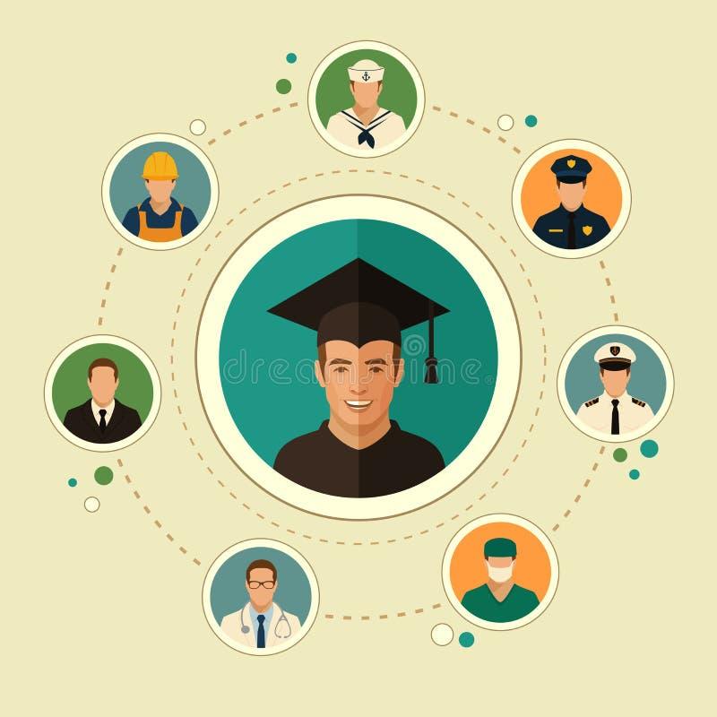 Εκπαίδευση, πτυχιούχος σπουδαστών διανυσματική απεικόνιση