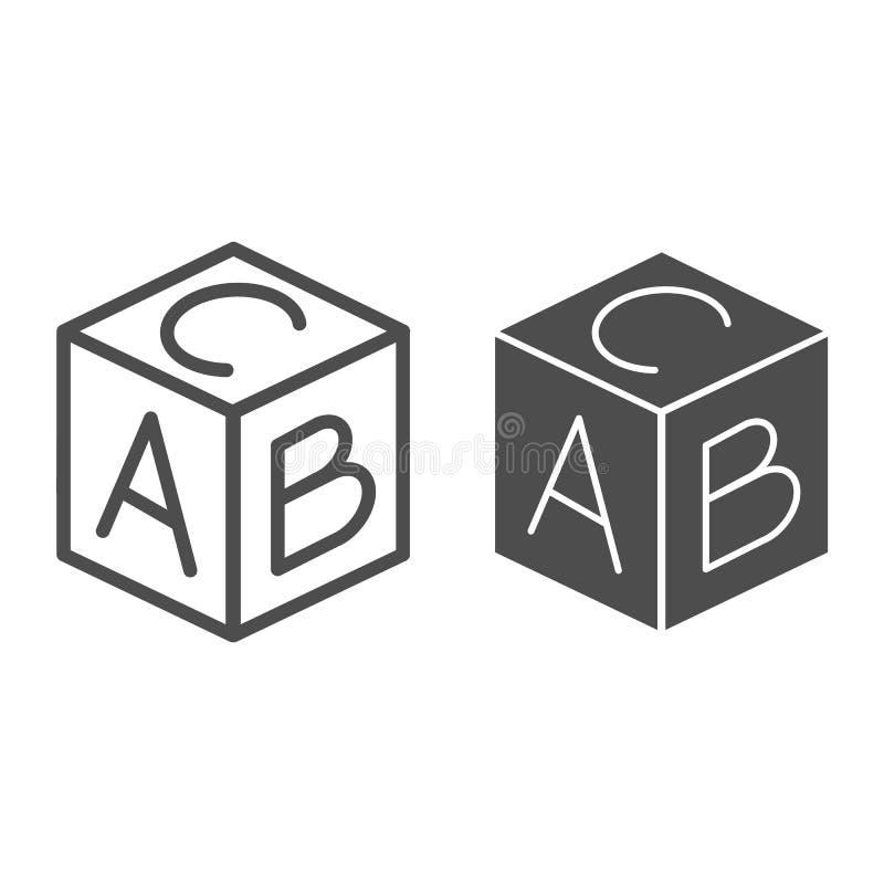 Εκπαιδευτικά γραμμή φραγμών και glyph εικονίδιο Παιχνιδιών κύβων απεικόνιση που απομονώνεται διανυσματική στο λευκό Ύφος περιλήψε απεικόνιση αποθεμάτων