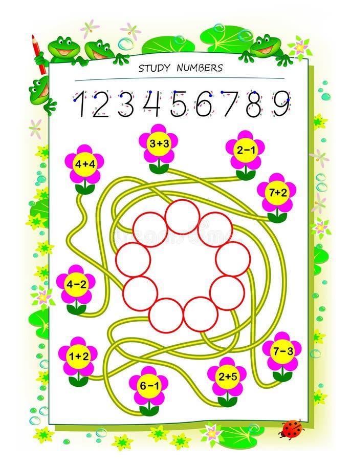 Εκπαιδευτική σελίδα για το βιβλίο παιδιών math με τις ασκήσεις στην προσθήκη και την αφαίρεση Ανάγκη να λυθούν τα παραδείγματα κα διανυσματική απεικόνιση