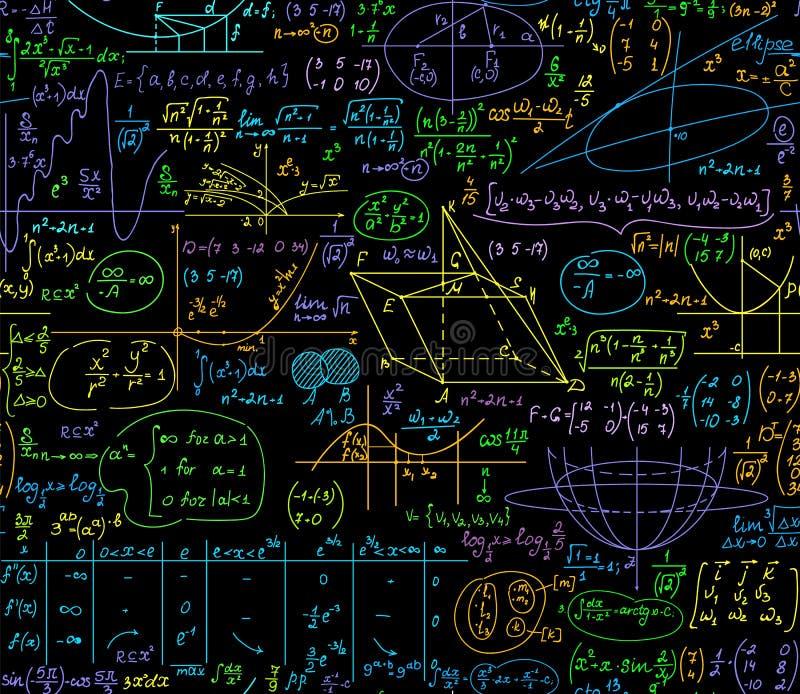 Εκπαιδευτικό διανυσματικό άνευ ραφής σχέδιο Math με τους πολύχρωμους τύπους άλγεβρας, αριθμοί, υπολογισμοί ελεύθερη απεικόνιση δικαιώματος