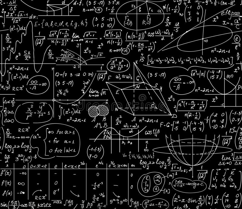 Εκπαιδευτικό διανυσματικό άνευ ραφής υπόβαθρο Math με τους χειρόγραφους τύπους, αριθμοί, υπολογισμοί ελεύθερη απεικόνιση δικαιώματος
