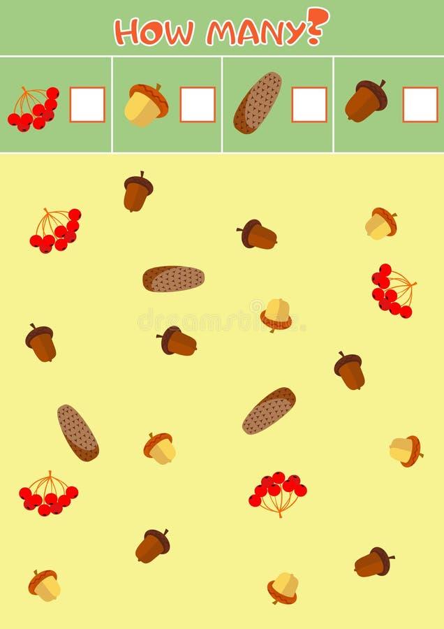 Εκπαιδευτικό μετρώντας παιχνίδι για τα προσχολικά παιδιά με ποικίλους βελανίδια και κώνους πεύκων ελεύθερη απεικόνιση δικαιώματος