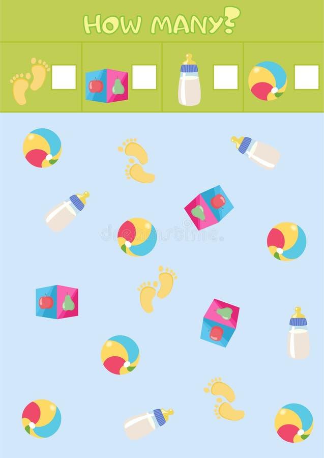 Εκπαιδευτικό μετρώντας παιχνίδι για τα προσχολικά παιδιά με τα διαφορετικά στοιχεία παιδιών ` s διανυσματική απεικόνιση