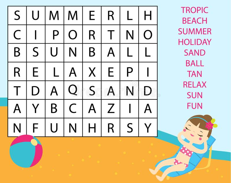 Εκπαιδευτικό παιχνίδι για τα παιδιά Δραστηριότητα παιδιών γρίφων αναζήτησης λέξης Λεξιλόγιο εκμάθησης θέματος καλοκαιρινών διακοπ ελεύθερη απεικόνιση δικαιώματος