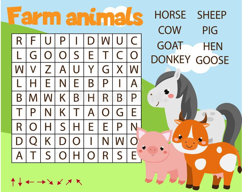 Εκπαιδευτικό παιχνίδι για τα παιδιά Δραστηριότητα παιδιών γρίφων αναζήτησης λέξης Θέμα ζώων αγροκτημάτων Λεξιλόγιο εκμάθησης για  διανυσματική απεικόνιση