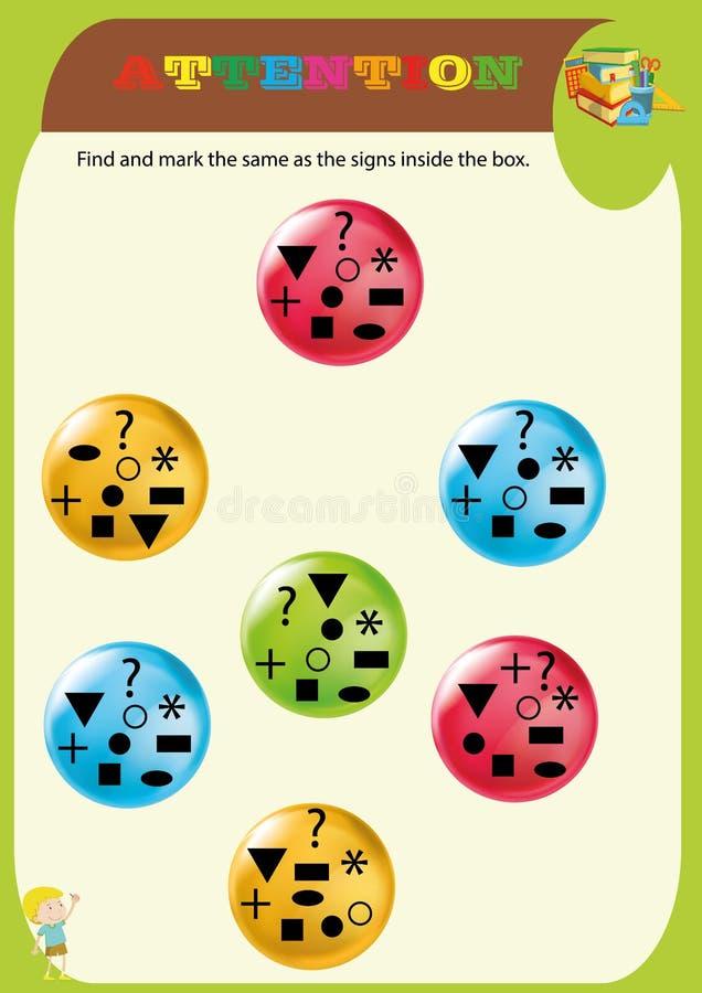 Εκπαιδευτικό παιχνίδι για τα παιδιά Δραστηριότητα για τα προ παιδιά και τα μικρά παιδιά ετών hool sÑ  παιχνίδια προσοχής απεικόνιση αποθεμάτων