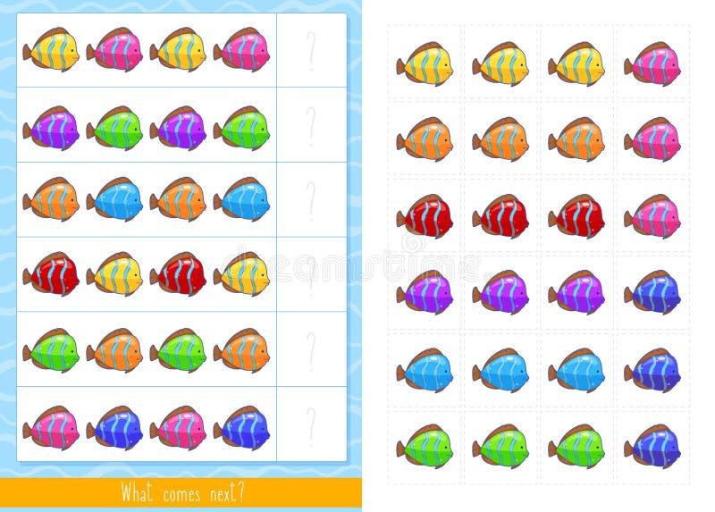 Εκπαιδευτικό παιχνίδι παιδιών Παιχνίδι λογικής για τα παιδιά Αυτό που έρχεται έπειτα διανυσματική απεικόνιση