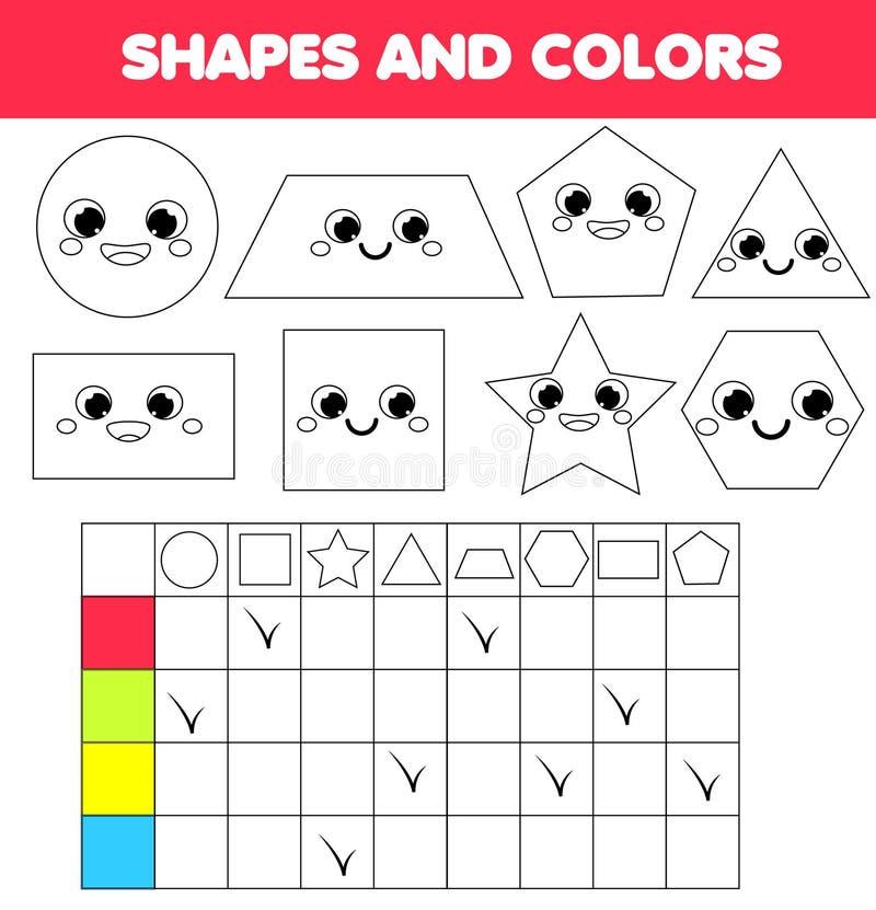 Εκπαιδευτικό παιχνίδι παιδιών Μαθαίνοντας γεωμετρικά μορφές και χρώματα για τα παιδιά Δραστηριότητα για τα προσχολικά παιδιά και  διανυσματική απεικόνιση