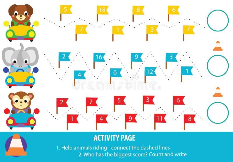 Εκπαιδευτικό παιχνίδι παιδιών Φύλλο εργασίας σελίδων δραστηριότητας πρακτική και μαθηματικά γραφής για τα παιδιά και τα μικρά παι απεικόνιση αποθεμάτων