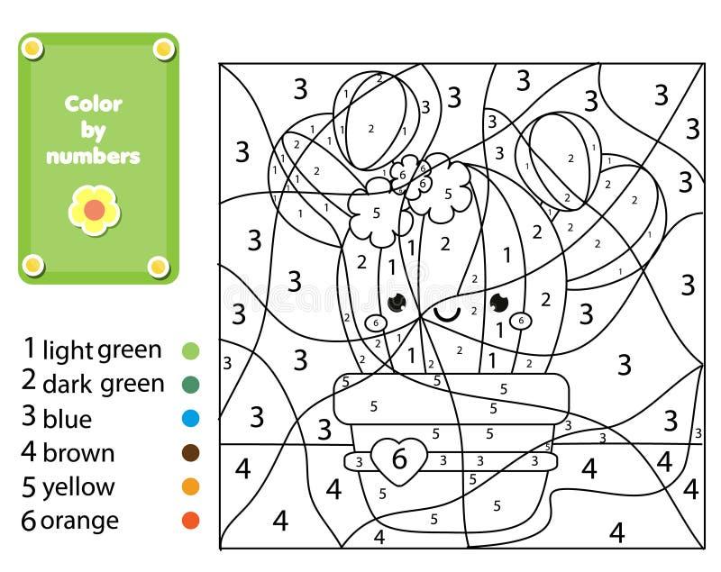 Εκπαιδευτικό παιχνίδι παιδιών Χρωματίζοντας σελίδα με τις εγκαταστάσεις κάκτων Χρώμα από τους αριθμούς, εκτυπώσιμη δραστηριότητα  ελεύθερη απεικόνιση δικαιώματος