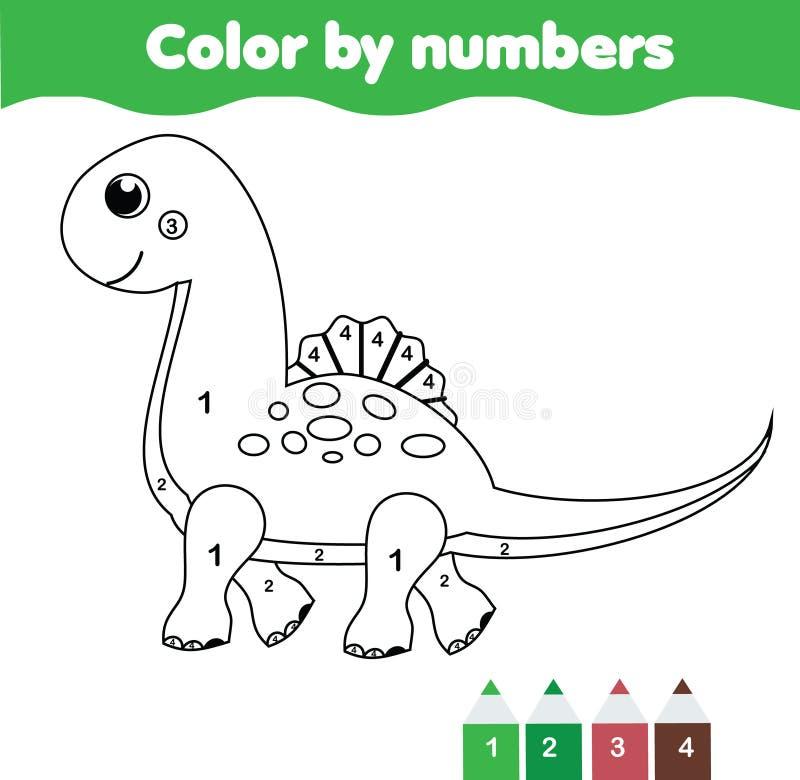 Εκπαιδευτικό παιχνίδι παιδιών Χρωματίζοντας σελίδα με το χαριτωμένο δεινόσαυρο Χρώμα από τους αριθμούς, εκτυπώσιμη δραστηριότητα απεικόνιση αποθεμάτων