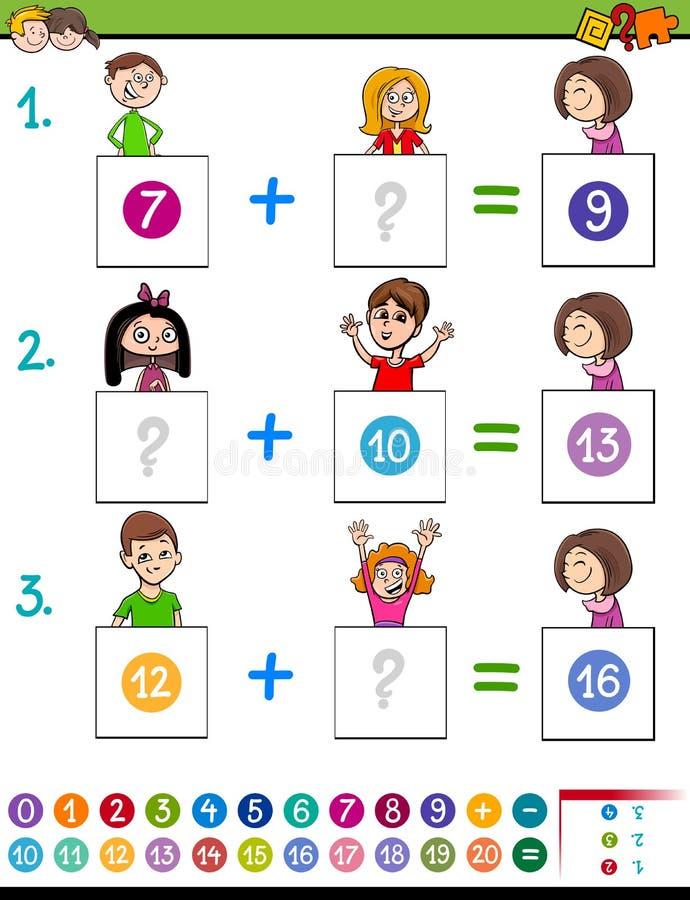 Εκπαιδευτικό παιχνίδι προσθηκών μαθηματικών με τα αστεία παιδιά ελεύθερη απεικόνιση δικαιώματος