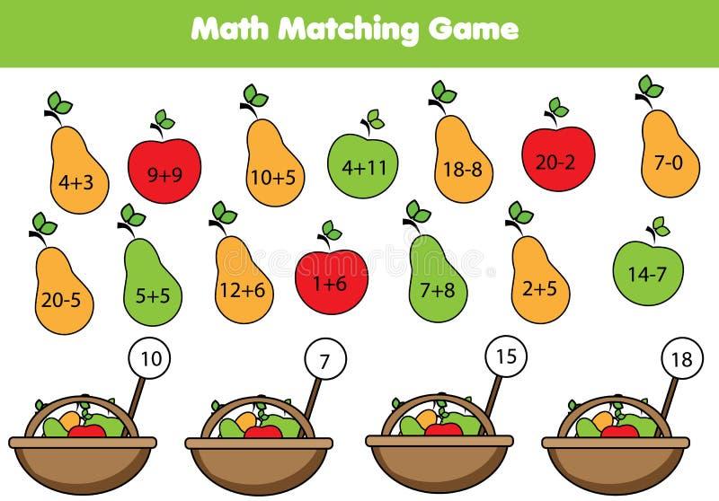 Εκπαιδευτικό παιχνίδι Math για τα παιδιά Ταιριάζοντας με δραστηριότητα μαθηματικών μετρώντας κατσίκια παιχνι& διανυσματική απεικόνιση