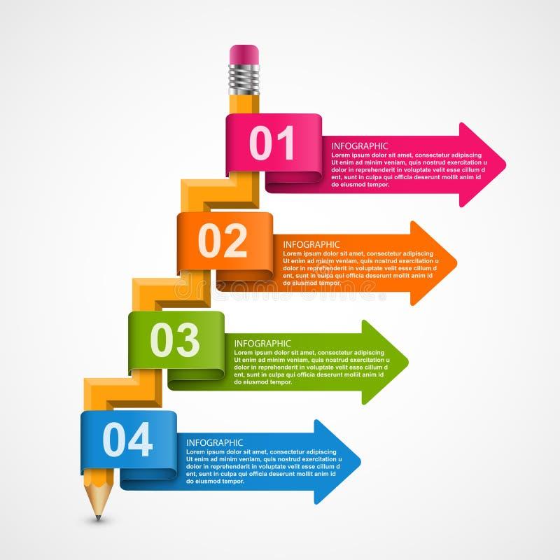 Εκπαιδευτικό πρότυπο Infographics με το μολύβι και τα χρωματισμένα βέλη Infographics για το έμβλημα επιχειρησιακών παρουσιάσεων ή ελεύθερη απεικόνιση δικαιώματος