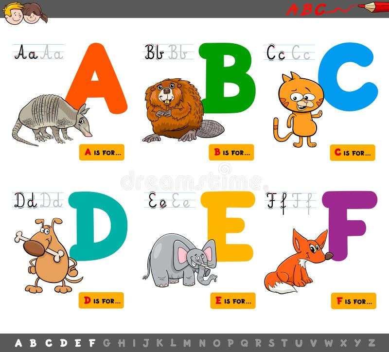 Εκπαιδευτικές επιστολές αλφάβητου κινούμενων σχεδίων για την εκμάθηση διανυσματική απεικόνιση