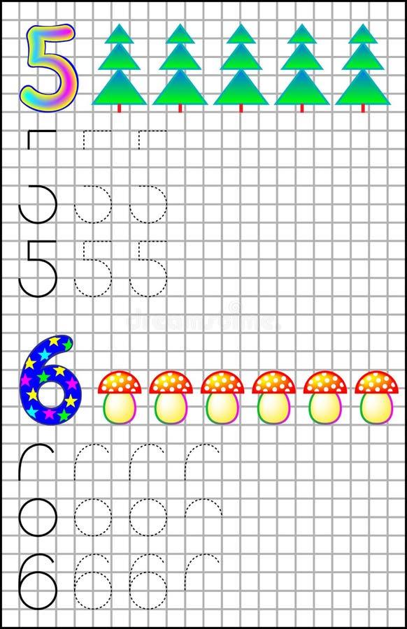 Εκπαιδευτική σελίδα για τα παιδιά σε τετραγωνικό χαρτί με τους αριθμούς 5 και 6 απεικόνιση αποθεμάτων