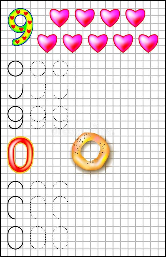Εκπαιδευτική σελίδα για τα παιδιά σε τετραγωνικό χαρτί με τους αριθμούς 9 και 0 απεικόνιση αποθεμάτων