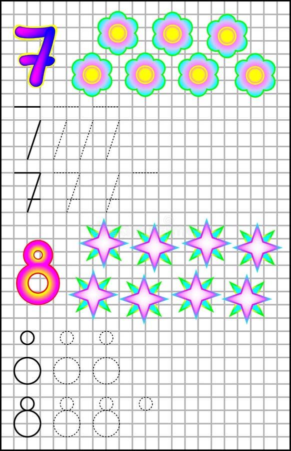 Εκπαιδευτική σελίδα για τα παιδιά σε τετραγωνικό χαρτί με τους αριθμούς 7 και 8 απεικόνιση αποθεμάτων
