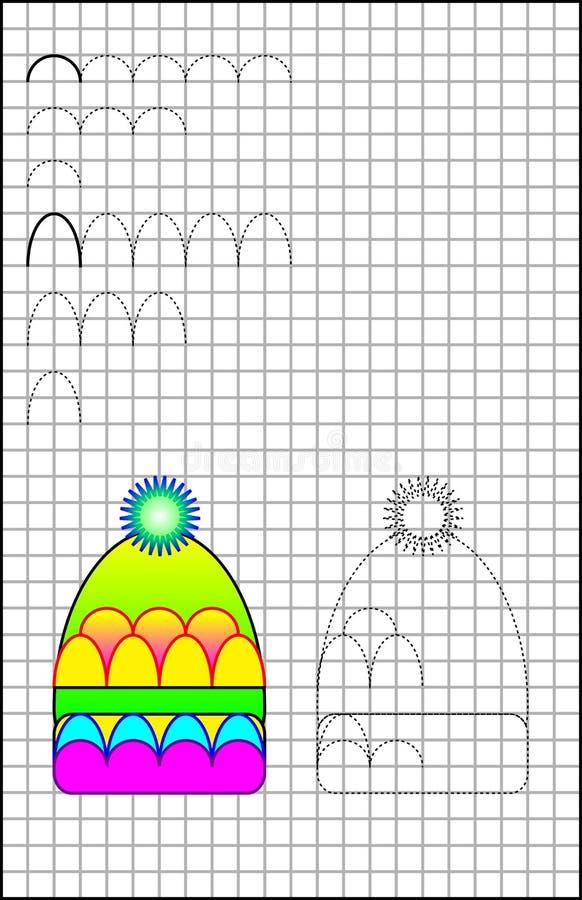 Εκπαιδευτική σελίδα με τις ασκήσεις για τα παιδιά σε τετραγωνικό χαρτί διανυσματική απεικόνιση
