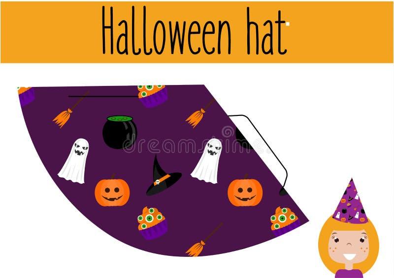 Εκπαιδευτικό δημιουργικό παιχνίδι παιδιών DIY Κάνετε ένα καπέλο κομμάτων αποκριών απεικόνιση αποθεμάτων