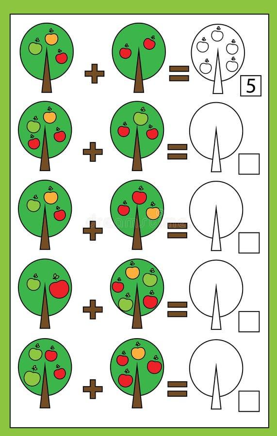 Εκπαιδευτικό μετρώντας παιχνίδι Math για τα παιδιά, φύλλο εργασίας προσθηκών διανυσματική απεικόνιση