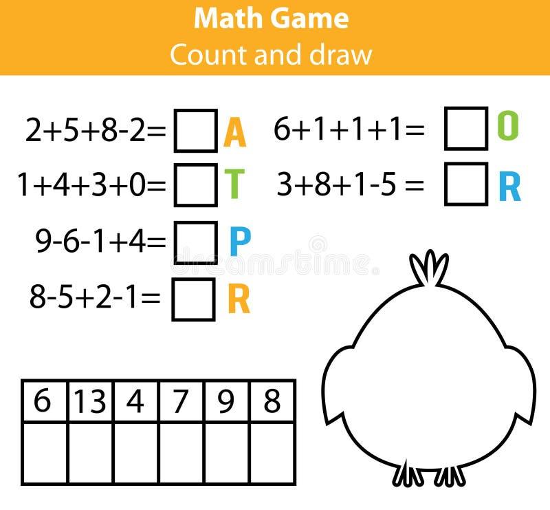 Εκπαιδευτικό παιχνίδι παιδιών γρίφων λέξεων με τις εξισώσεις μαθηματικών Υπολογισμός και παιχνίδι επιστολών Αριθμοί και λεξιλόγιο διανυσματική απεικόνιση